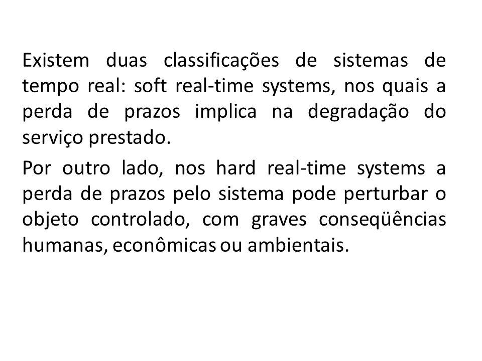 Existem duas classificações de sistemas de tempo real: soft real-time systems, nos quais a perda de prazos implica na degradação do serviço prestado.