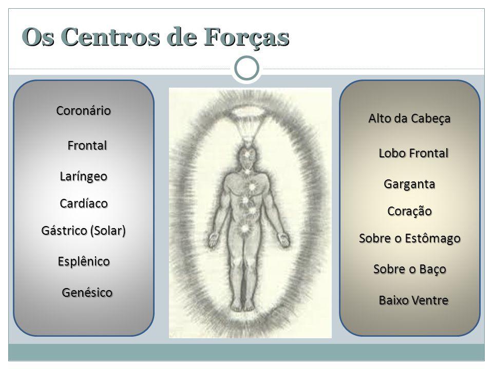 Os Centros de Forças Coronário Frontal Laríngeo Cardíaco Gástrico (Solar) Esplênico Genésico Alto da Cabeça Lobo Frontal Garganta Coração Sobre o Estômago Sobre o Baço Baixo Ventre