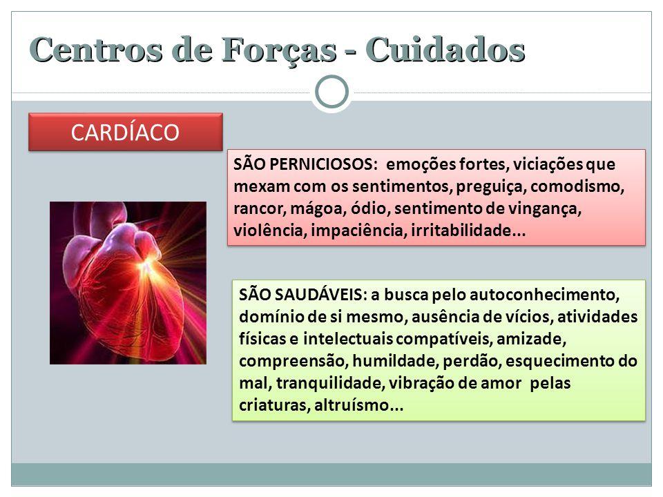 Centros de Forças - Cuidados SÃO PERNICIOSOS: emoções fortes, viciações que mexam com os sentimentos, preguiça, comodismo, rancor, mágoa, ódio, sentimento de vingança, violência, impaciência, irritabilidade...