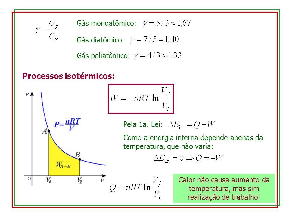 Gás monoatômico: Gás diatômico: Gás poliatômico: Processos isotérmicos: Pela 1a. Lei: Como a energia interna depende apenas da temperatura, que não va