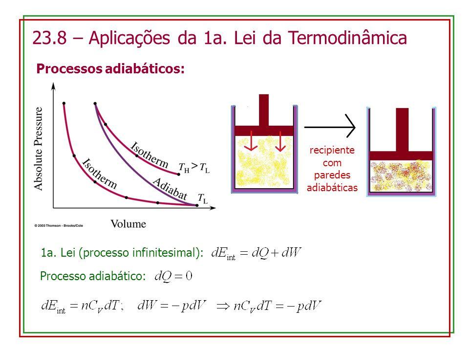 23.8 – Aplicações da 1a. Lei da Termodinâmica Processos adiabáticos: recipiente com paredes adiabáticas 1a. Lei (processo infinitesimal): Processo adi