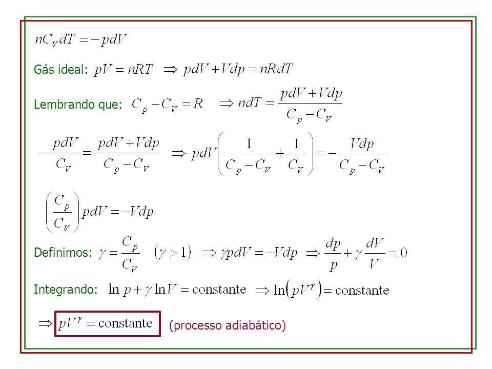 Gás monoatômico: Gás diatômico: Gás poliatômico: Processos isotérmicos: Pela 1a.