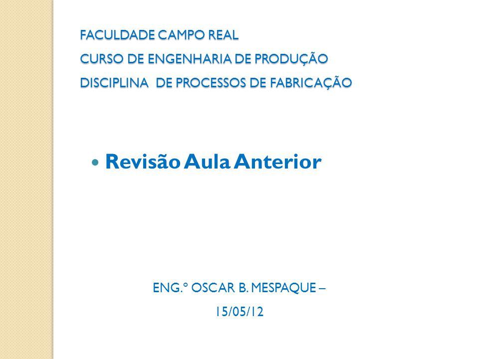 FACULDADE CAMPO REAL CURSO DE ENGENHARIA DE PRODUÇÃO DISCIPLINA DE PROCESSOS DE FABRICAÇÃO ENG.º OSCAR B. MESPAQUE – 15/05/12  Revisão Aula Anterior