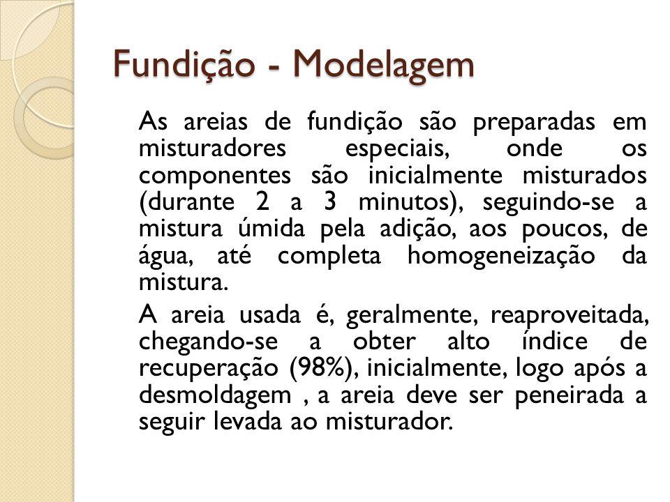 Fundição - Modelagem As areias de fundição são preparadas em misturadores especiais, onde os componentes são inicialmente misturados (durante 2 a 3 mi