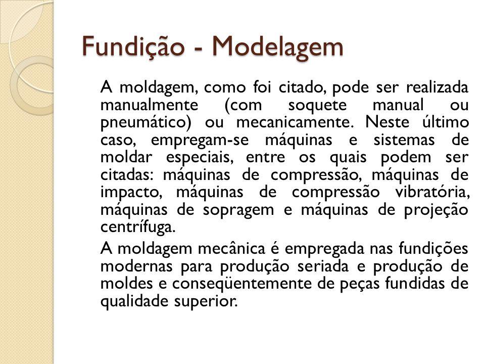 Fundição - Modelagem A moldagem, como foi citado, pode ser realizada manualmente (com soquete manual ou pneumático) ou mecanicamente. Neste último cas