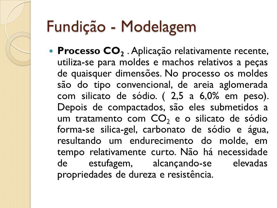 Fundição - Modelagem  Processo CO 2. Aplicação relativamente recente, utiliza-se para moldes e machos relativos a peças de quaisquer dimensões. No pr