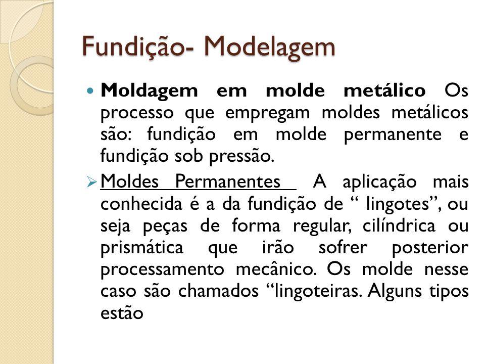 Fundição- Modelagem  Moldagem em molde metálico Os processo que empregam moldes metálicos são: fundição em molde permanente e fundição sob pressão. 