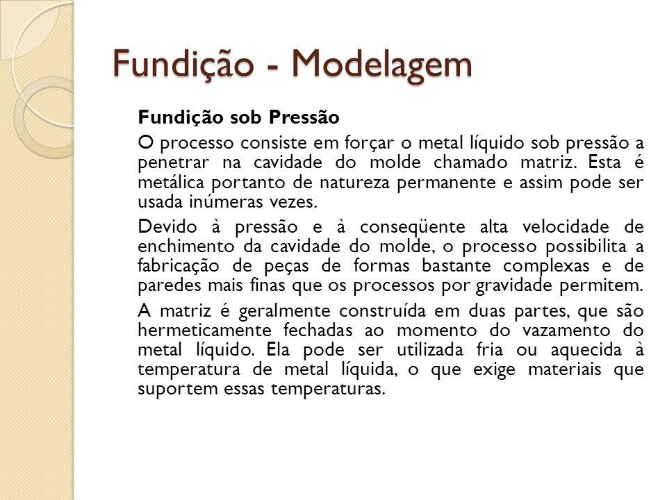 Fundição - Modelagem Fundição sob Pressão O processo consiste em forçar o metal líquido sob pressão a penetrar na cavidade do molde chamado matriz. Es
