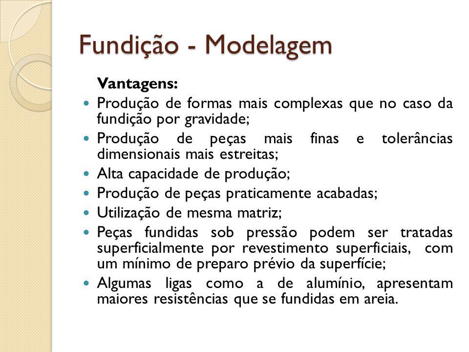 Fundição - Modelagem Vantagens:  Produção de formas mais complexas que no caso da fundição por gravidade;  Produção de peças mais finas e tolerância