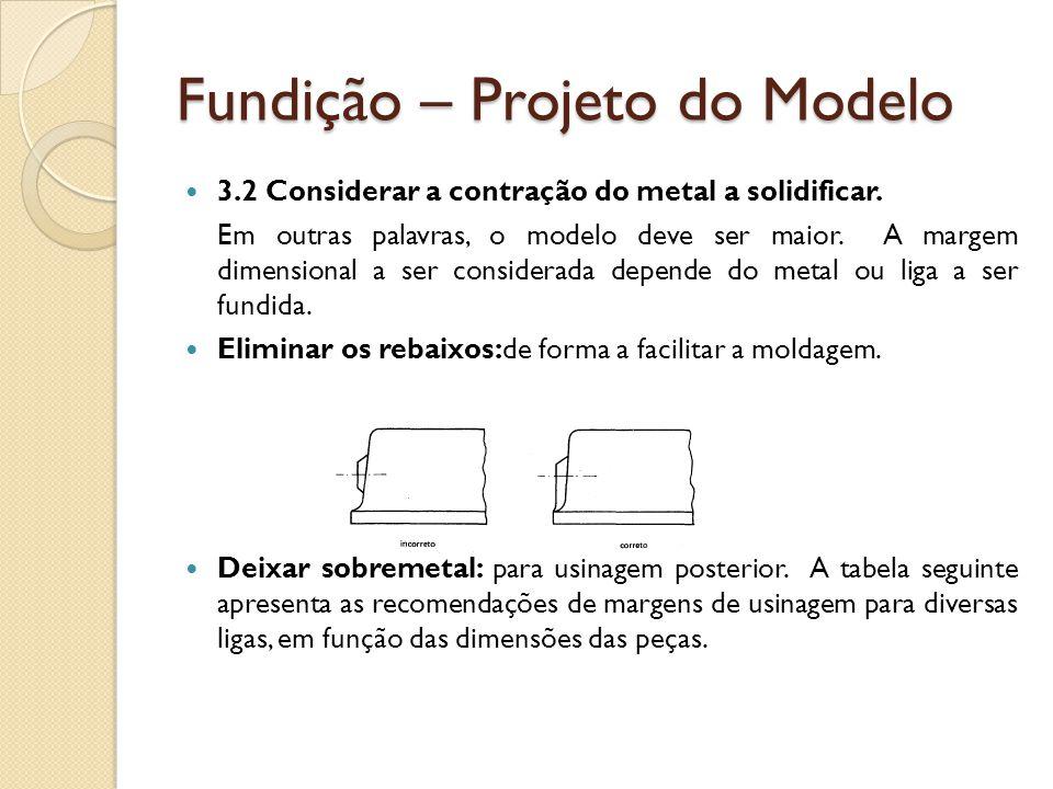 Fundição – Projeto do Modelo  3.2 Considerar a contração do metal a solidificar. Em outras palavras, o modelo deve ser maior. A margem dimensional a