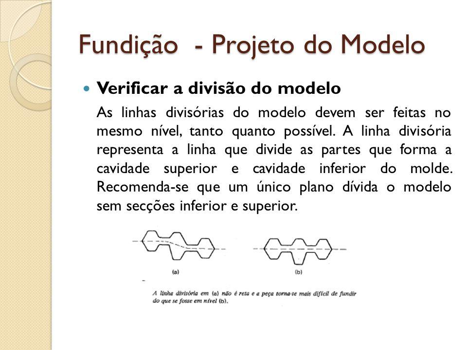 Fundição - Projeto do Modelo  Verificar a divisão do modelo As linhas divisórias do modelo devem ser feitas no mesmo nível, tanto quanto possível. A