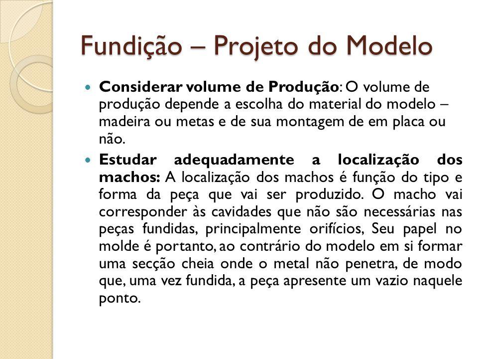 Fundição – Projeto do Modelo  Considerar volume de Produção: O volume de produção depende a escolha do material do modelo – madeira ou metas e de sua