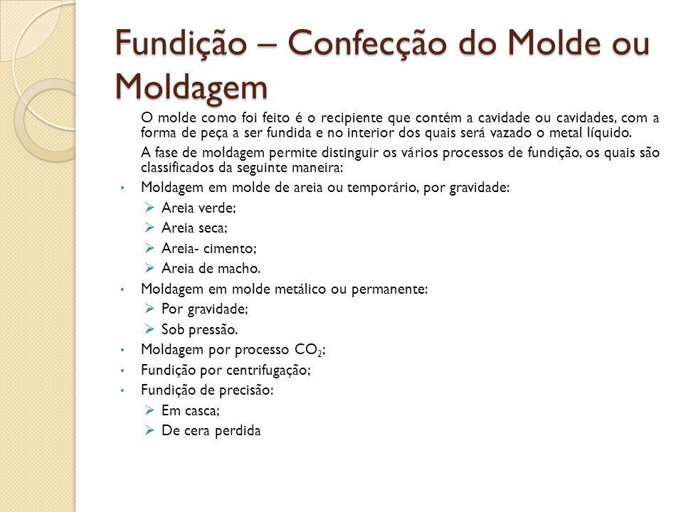 Fundição – Confecção do Molde ou Moldagem O molde como foi feito é o recipiente que contém a cavidade ou cavidades, com a forma de peça a ser fundida