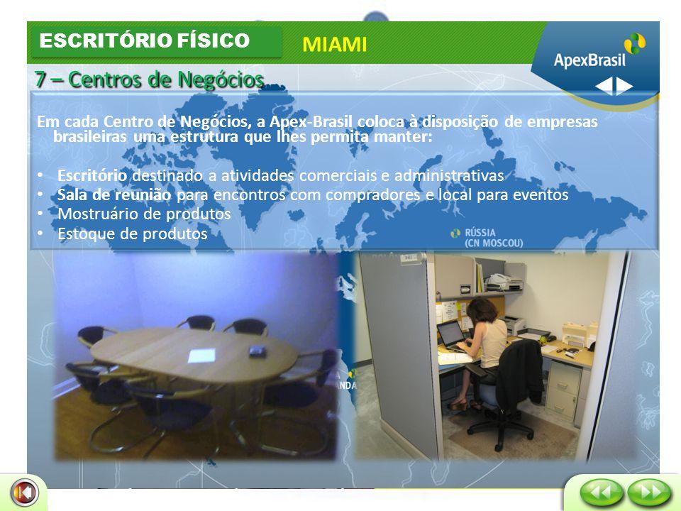 • Envio de correspodência ao Brasil • Depósito de cheques • Preparação de mala direta • Postagem de correspondência • Secretária Virtual MIAMI PLATAFORMAS DE INTERNACIONALIZAÇÃO ESCRITÓRIO VIRTUAL 7 – Centros de Negócios