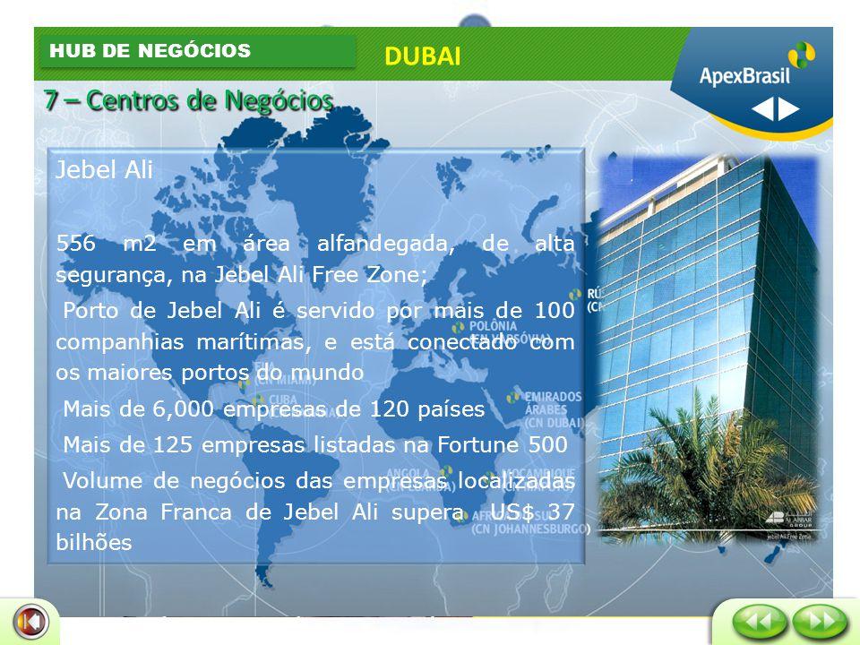 Europa - 14 dias Asia - 9 dias Estados Unidos - 21 dias Austrália 18 dias Brasil 25 dias Japão- 20 dias DUBAI HUB LOGÍSTICO 7 – Centros de Negócios