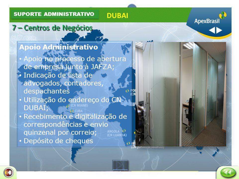 Apoio Administrativo • Estação de trabalho mobiliada • Telefone com ramal próprio da empresa • Internet banda larga • Fax • Impressora e copiadora • Sala de Reunião • Custo AED 1.850,00 DUBAI ESCRITÓRIOS FÍSICOS 7 – Centros de Negócios