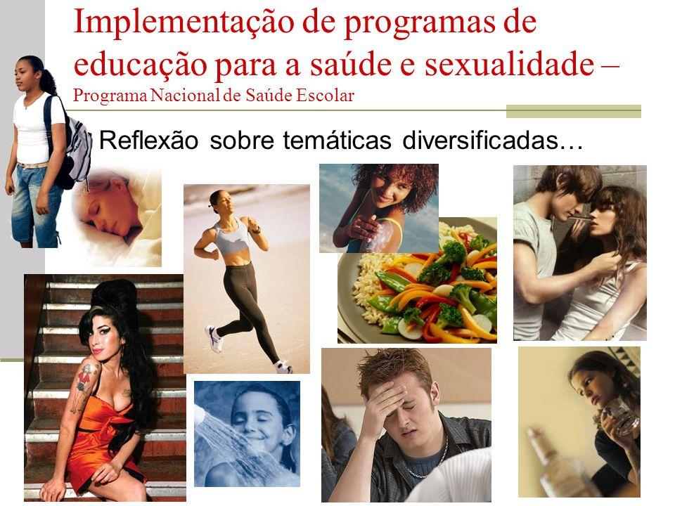  Reflexão sobre temáticas diversificadas… Implementação de programas de educação para a saúde e sexualidade – Programa Nacional de Saúde Escolar
