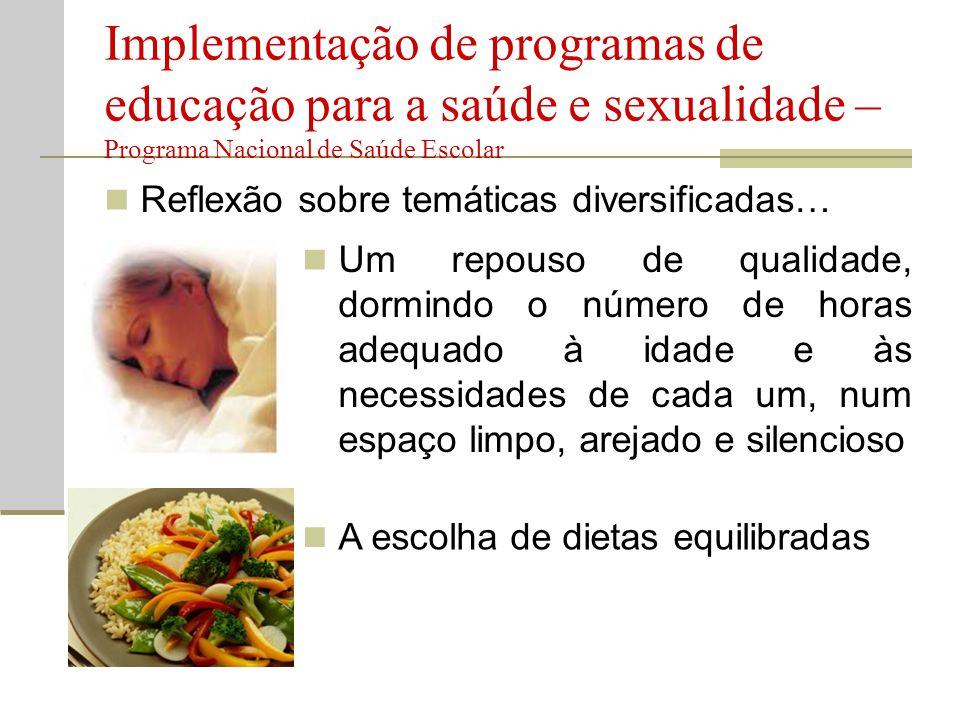  Reflexão sobre temáticas diversificadas… Implementação de programas de educação para a saúde e sexualidade – Programa Nacional de Saúde Escolar  Um