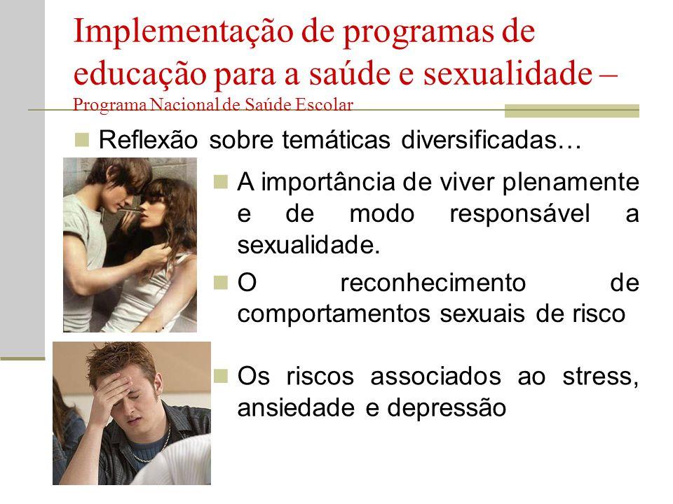  Reflexão sobre temáticas diversificadas… Implementação de programas de educação para a saúde e sexualidade – Programa Nacional de Saúde Escolar  A