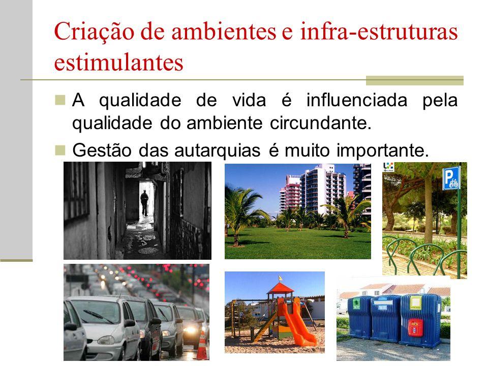 Criação de ambientes e infra-estruturas estimulantes  A qualidade de vida é influenciada pela qualidade do ambiente circundante.  Gestão das autarqu