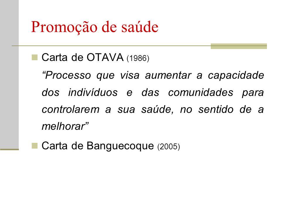 """Promoção de saúde  Carta de OTAVA (1986) """"Processo que visa aumentar a capacidade dos indivíduos e das comunidades para controlarem a sua saúde, no s"""