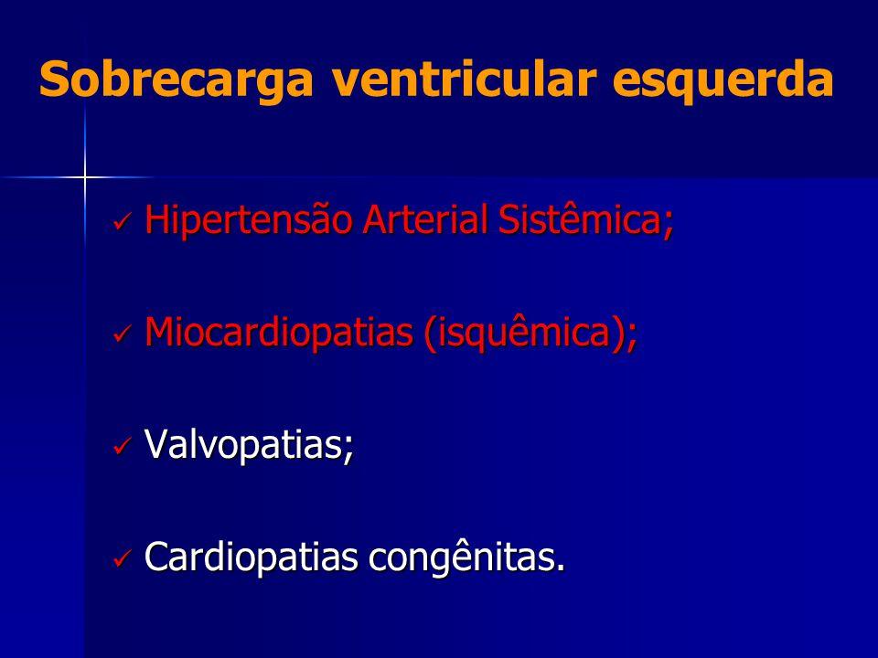 Sobrecarga ventricular esquerda  Hipertensão Arterial Sistêmica;  Miocardiopatias (isquêmica);  Valvopatias;  Cardiopatias congênitas.