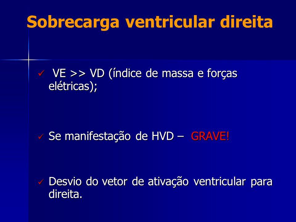 Sobrecarga ventricular direita  VE >> VD (índice de massa e forças elétricas);  Se manifestação de HVD – GRAVE!  Desvio do vetor de ativação ventri