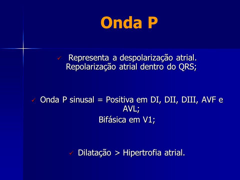 Onda P  Representa a despolarização atrial. Repolarização atrial dentro do QRS;  Onda P sinusal = Positiva em DI, DII, DIII, AVF e AVL; Bifásica em