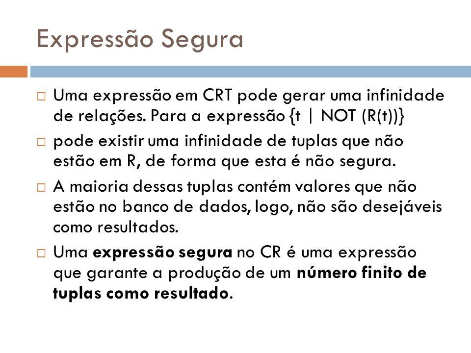 Expressão Segura  Uma expressão em CRT pode gerar uma infinidade de relações. Para a expressão {t | NOT (R(t))}  pode existir uma infinidade de tupl