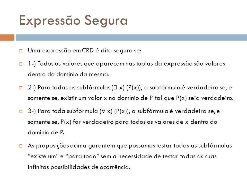 Expressão Segura  Uma expressão em CRD é dita segura se:  1-) Todos os valores que aparecem nas tuplas da expressão são valores dentro do domínio da