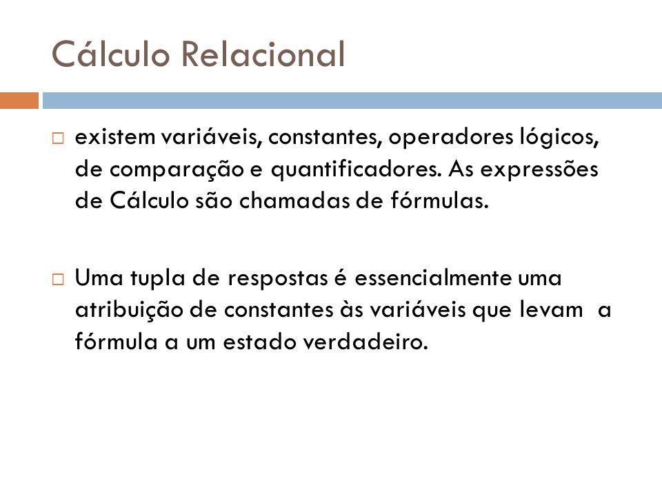 Cálculo Relacional  existem variáveis, constantes, operadores lógicos, de comparação e quantificadores. As expressões de Cálculo são chamadas de fórm