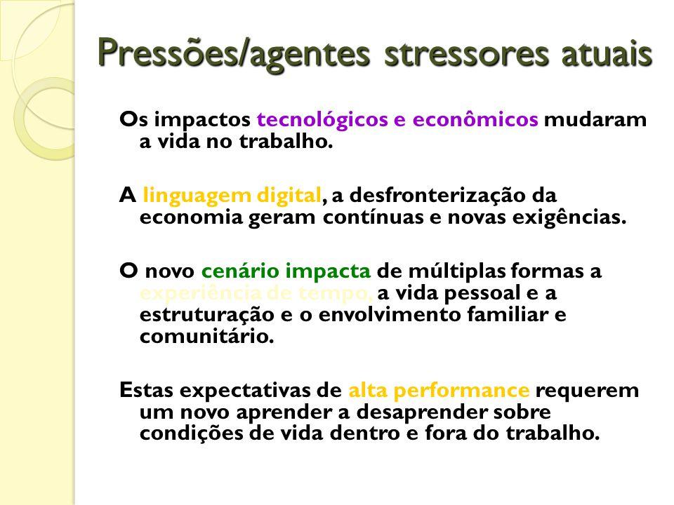 Pressões/agentes stressores atuais Os impactos tecnológicos e econômicos mudaram a vida no trabalho.