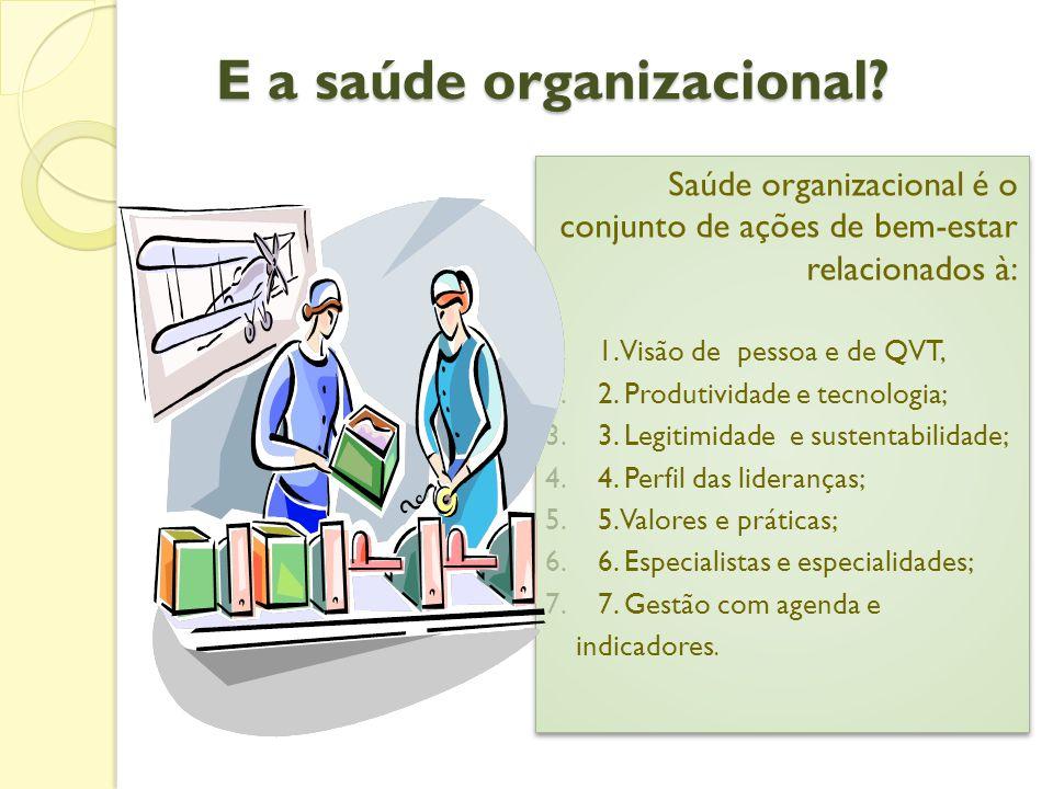 E a saúde organizacional.