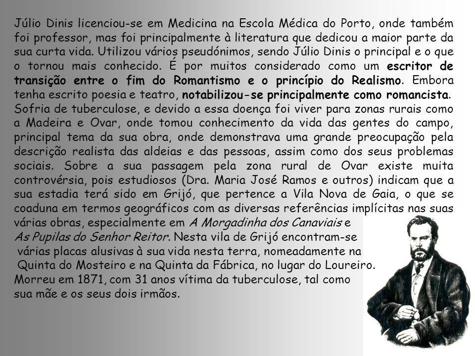 Júlio Dinis licenciou-se em Medicina na Escola Médica do Porto, onde também foi professor, mas foi principalmente à literatura que dedicou a maior par