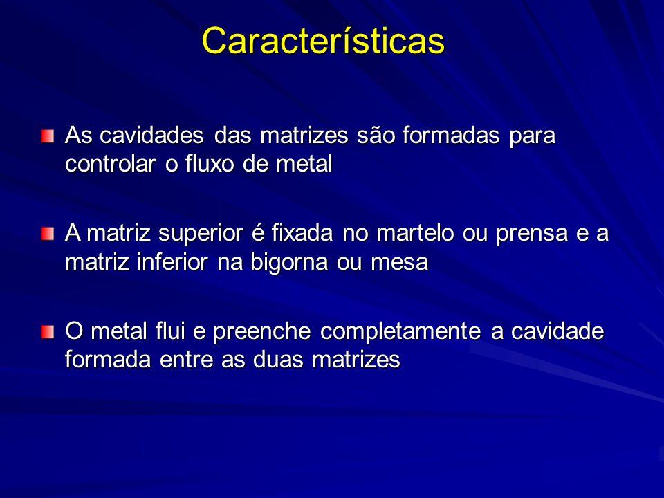 As cavidades das matrizes são formadas para controlar o fluxo de metal A matriz superior é fixada no martelo ou prensa e a matriz inferior na bigorna ou mesa O metal flui e preenche completamente a cavidade formada entre as duas matrizes Características