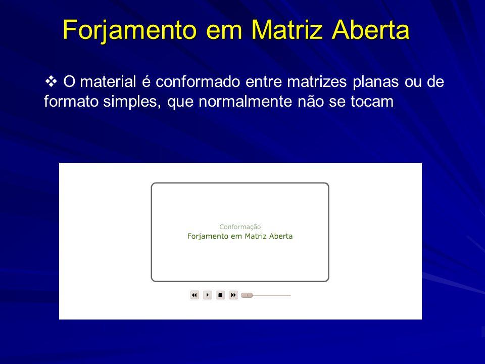 Forjamento em Matriz Aberta  O material é conformado entre matrizes planas ou de formato simples, que normalmente não se tocam
