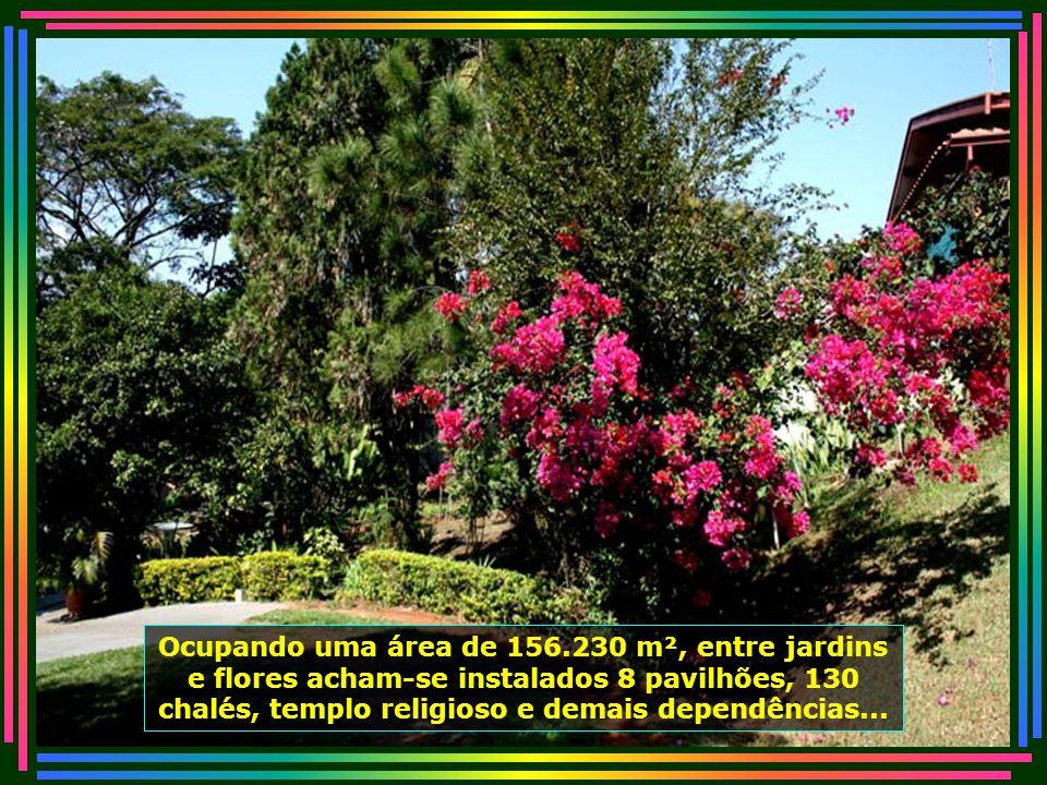 Ocupando uma área de 156.230 m², entre jardins e flores acham-se instalados 8 pavilhões, 130 chalés, templo religioso e demais dependências...