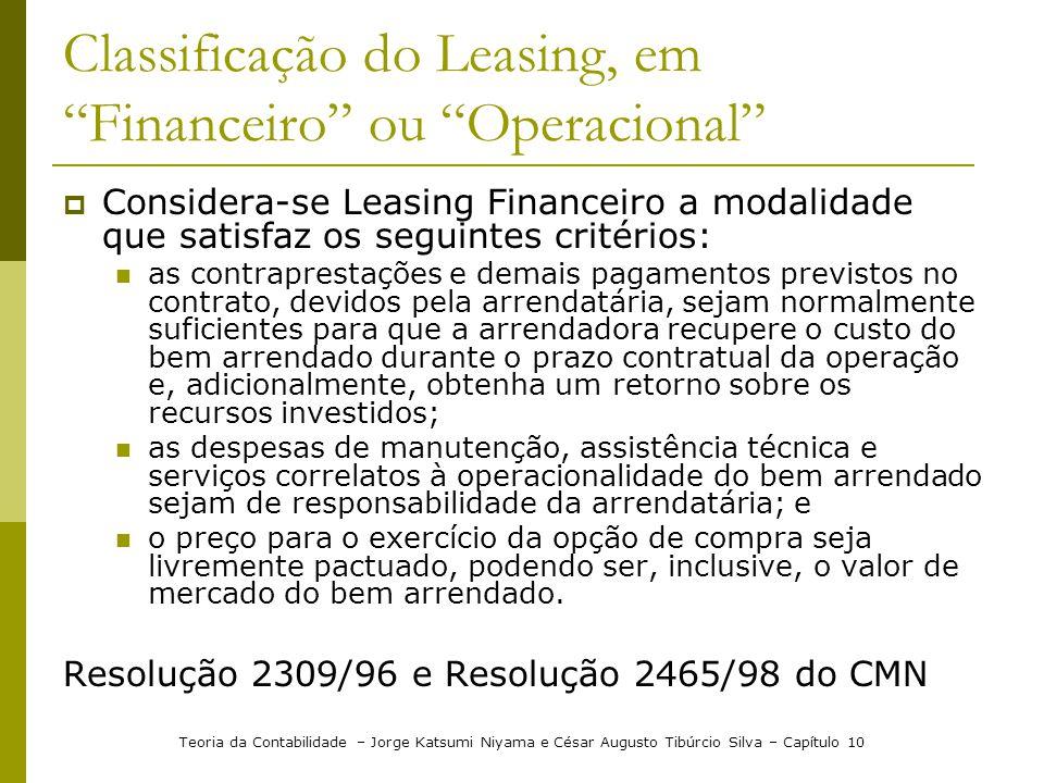 """Classificação do Leasing, em """"Financeiro"""" ou """"Operacional""""  Considera-se Leasing Financeiro a modalidade que satisfaz os seguintes critérios:  as co"""