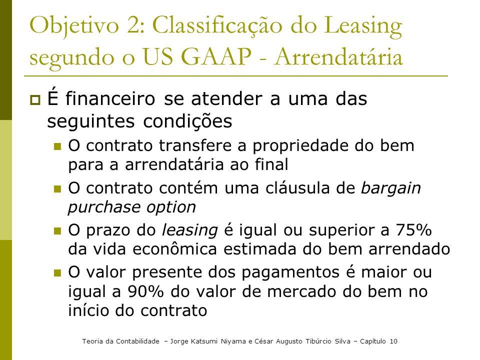 Objetivo 2: Classificação do Leasing segundo o US GAAP - Arrendatária  É financeiro se atender a uma das seguintes condições  O contrato transfere a