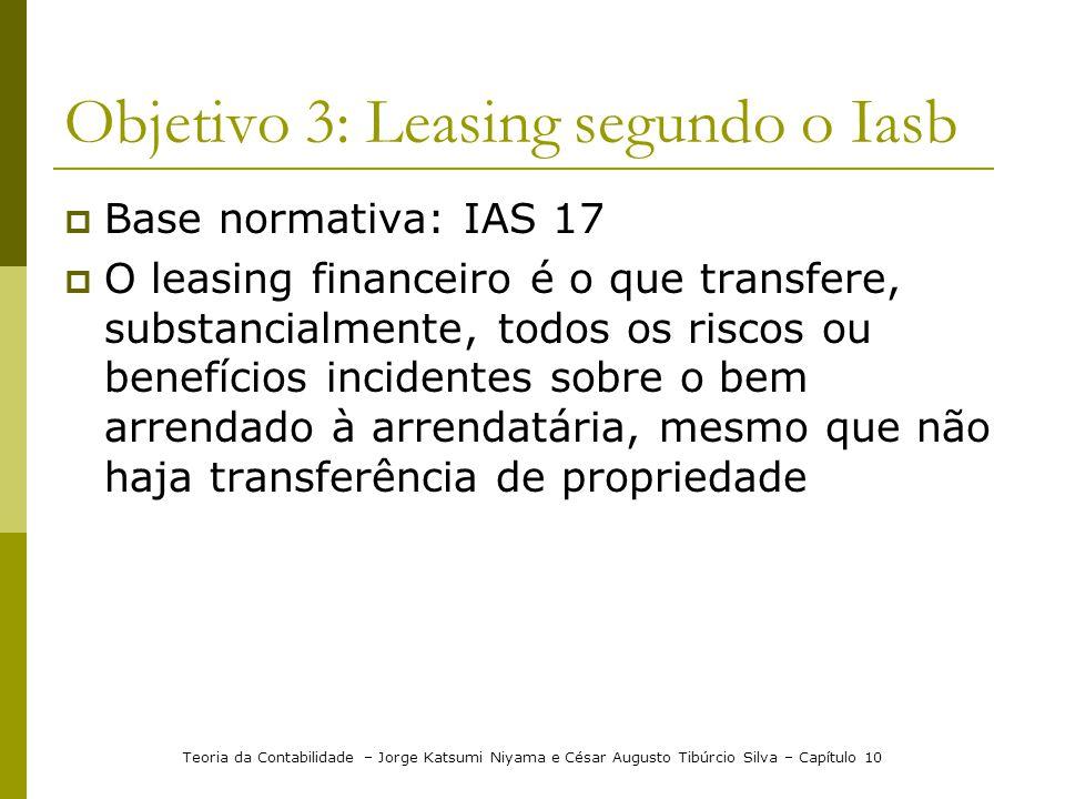 Objetivo 3: Leasing segundo o Iasb  Base normativa: IAS 17  O leasing financeiro é o que transfere, substancialmente, todos os riscos ou benefícios