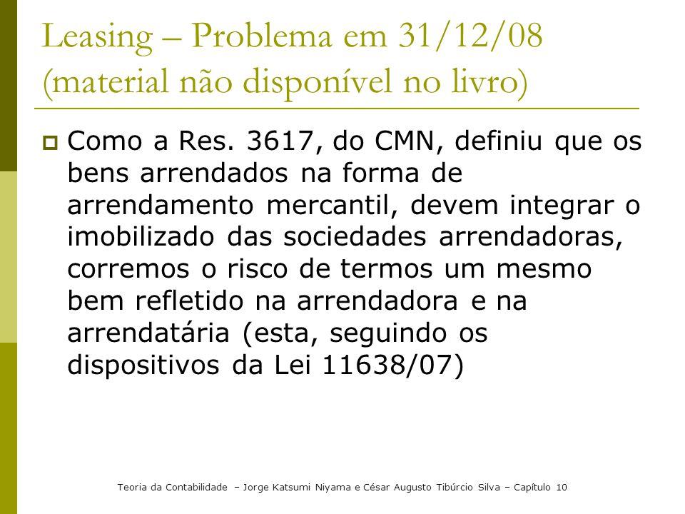 Leasing – Problema em 31/12/08 (material não disponível no livro)  Como a Res. 3617, do CMN, definiu que os bens arrendados na forma de arrendamento