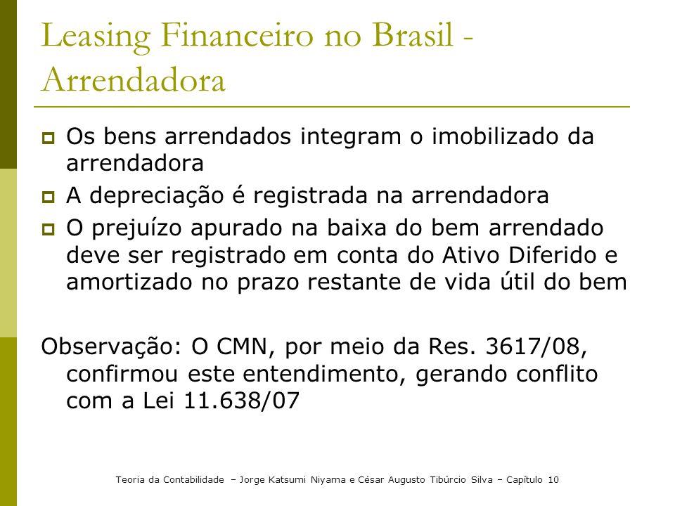 Leasing Financeiro no Brasil - Arrendadora  Os bens arrendados integram o imobilizado da arrendadora  A depreciação é registrada na arrendadora  O