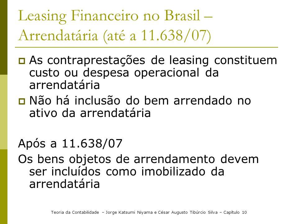 Leasing Financeiro no Brasil – Arrendatária (até a 11.638/07)  As contraprestações de leasing constituem custo ou despesa operacional da arrendatária