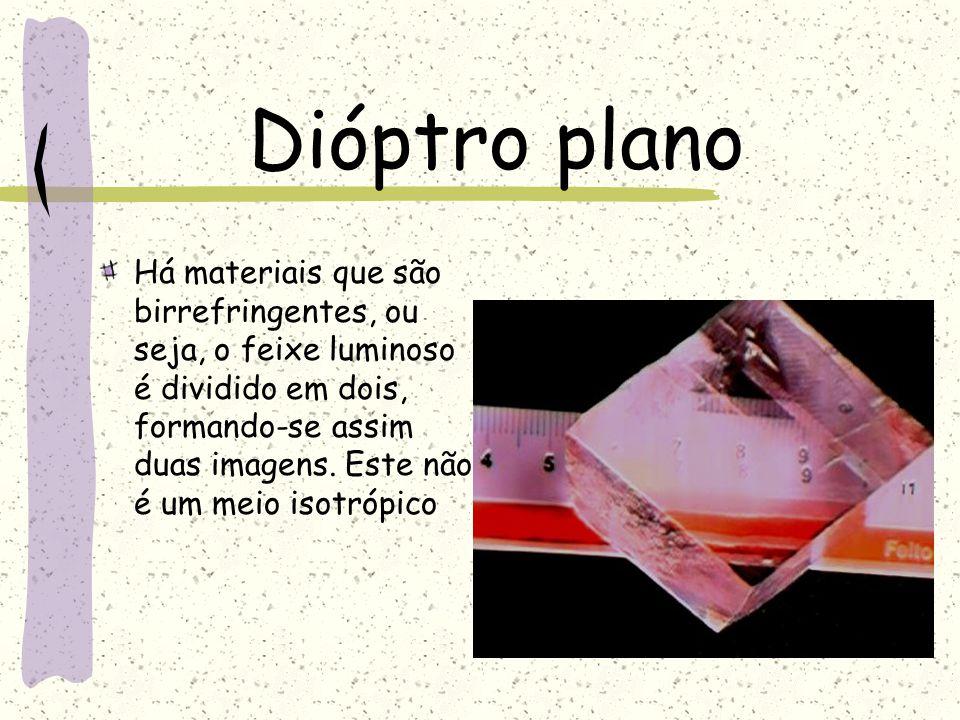 Dióptro plano Há materiais que são birrefringentes, ou seja, o feixe luminoso é dividido em dois, formando-se assim duas imagens. Este não é um meio i