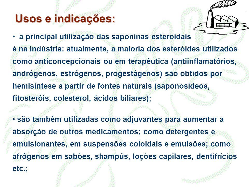 Usos e indicações: • a principal utilização das saponinas esteroidais é na indústria: atualmente, a maioria dos esteróides utilizados como anticoncepc