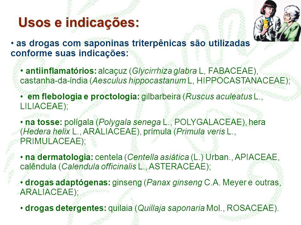 Usos e indicações: • as drogas com saponinas triterpênicas são utilizadas conforme suas indicações: • antiinflamatórios: alcaçuz (Glycirrhiza glabra L