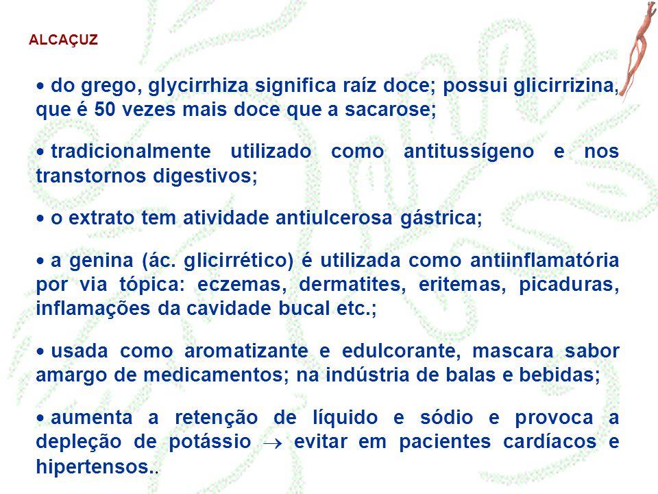ALCAÇUZ  do grego, glycirrhiza significa raíz doce; possui glicirrizina, que é 50 vezes mais doce que a sacarose;  tradicionalmente utilizado como a