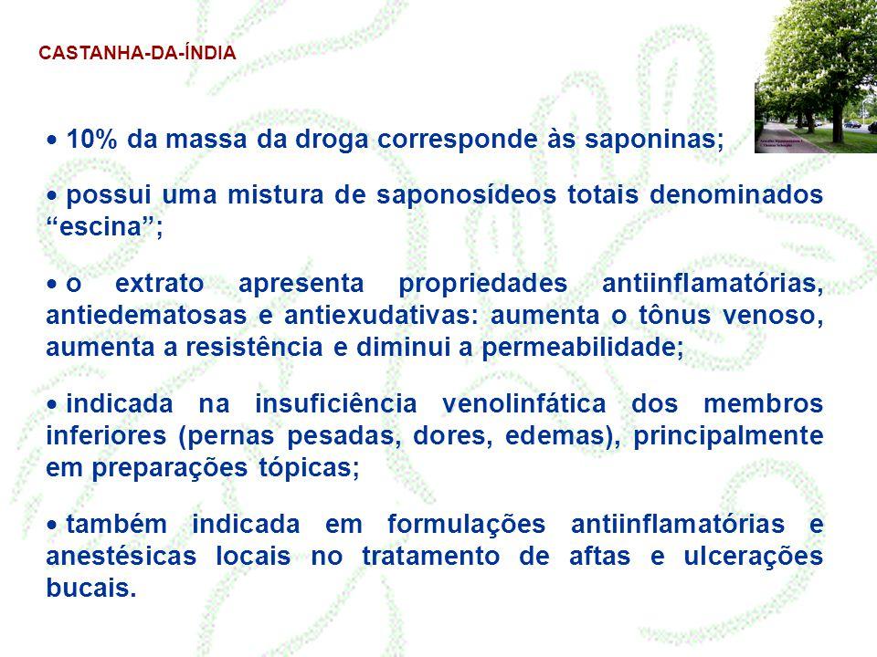 """CASTANHA-DA-ÍNDIA  10% da massa da droga corresponde às saponinas;  possui uma mistura de saponosídeos totais denominados """"escina"""";  o extrato apre"""