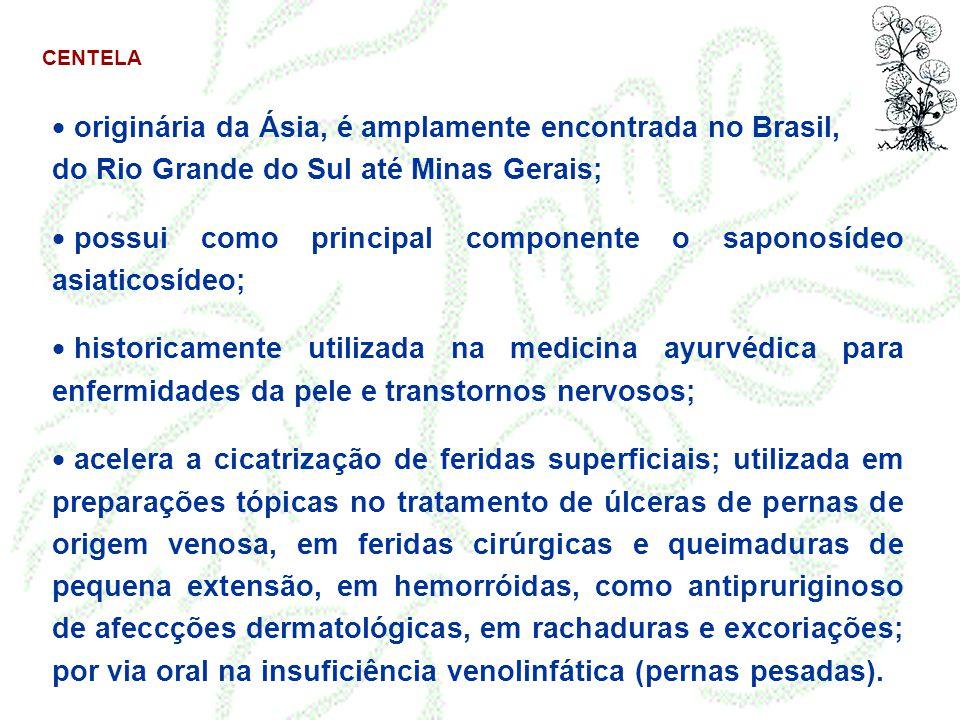 CENTELA  originária da Ásia, é amplamente encontrada no Brasil, do Rio Grande do Sul até Minas Gerais;  possui como principal componente o saponosíd