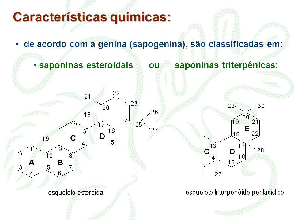 Características químicas: • de acordo com a genina (sapogenina), são classificadas em: • saponinas esteroidais ou saponinas triterpênicas: